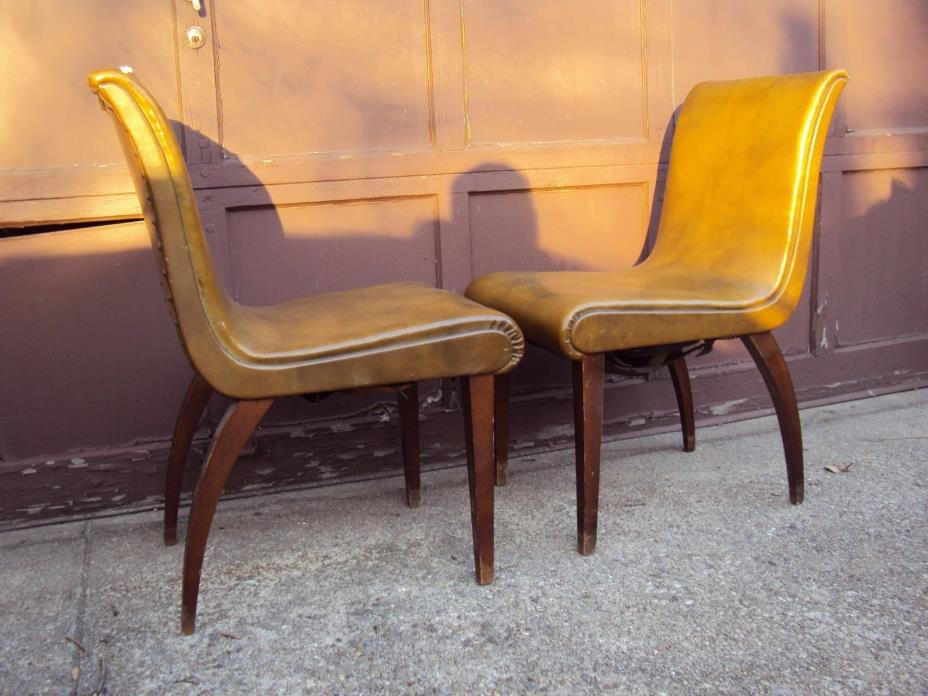 PAIR VINTAGE ANTIQUE MID-CENTURY LOUNGE CHAIRS 50s