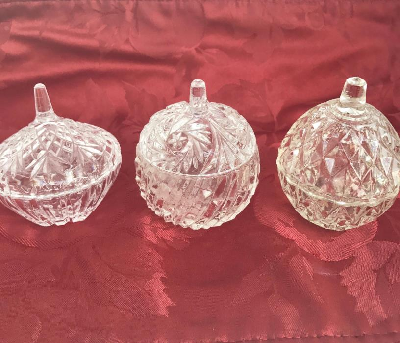 Lot of 3 Crystal Glass Clear Mini Bowls Dishes With Lids 3 Inches Tall