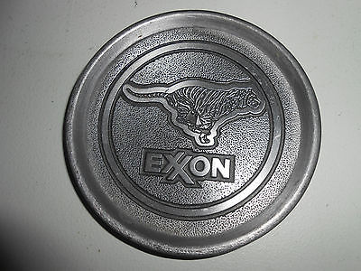 EXXON Mobil Drink Coaster Rare  Round Collectible Silver Finish Metal