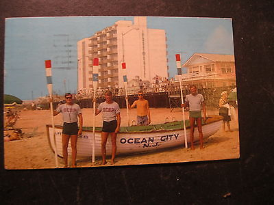 Vintage Postcard Ocean City New Jersey NJ Lifeguards Men Bathing Suits June 1968