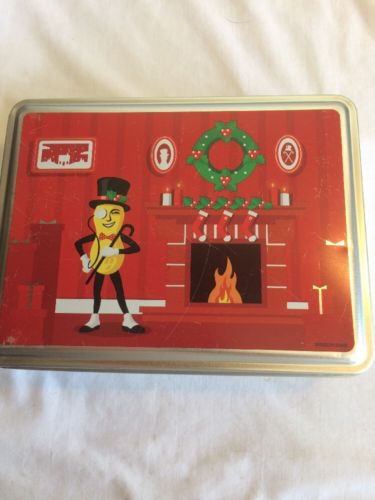Vintage Mr. Peanut Tin With Christmas  Scene.