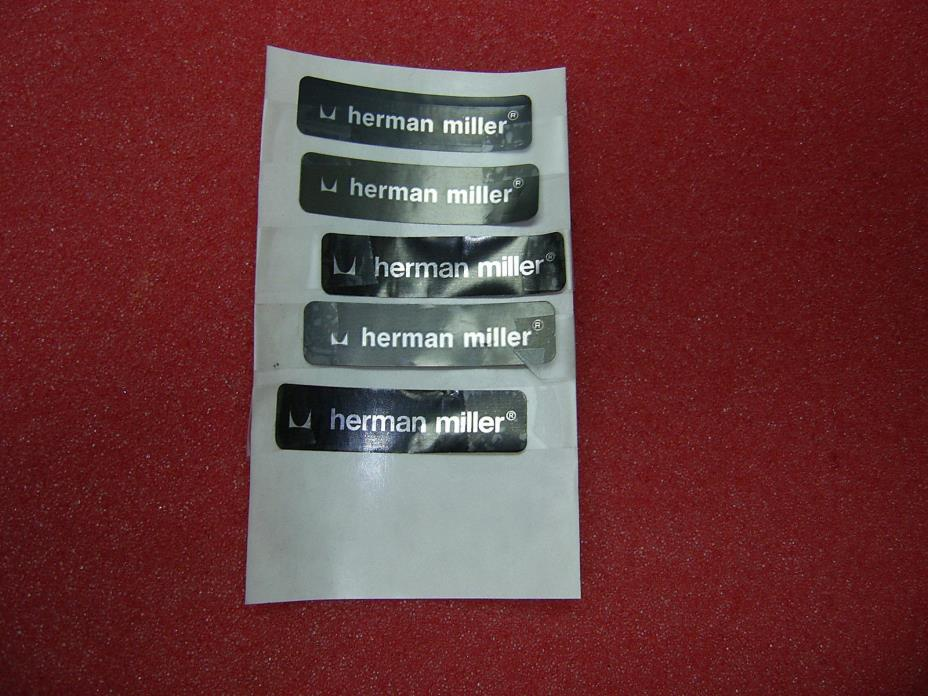Qty 5 hermam miller alumnum paper black label tag used