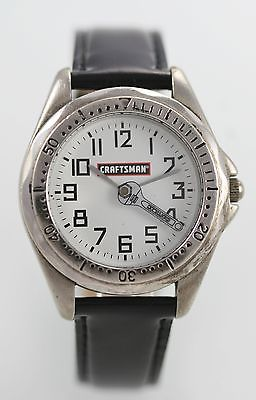 Craftsman Men's Stainless Steel Silver Black Leather Quartz Battery Watch