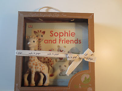 Sophie Le Giraffe Toy and Sophie and Friends Book Gift Set Rare France Chic NWT