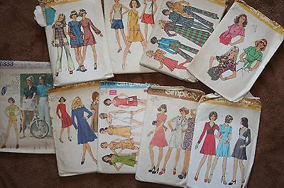 vintage 1970's Simplicity sewing patterns, lot of 9, used, size 10