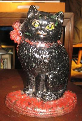 vintage HUBLEY Cast Iron Doorstop CAT with BOW on PILLOW Black & Red Folk Art