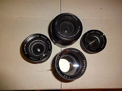 CAMERA LENSES A MIXED VARIETY OF 4 SELLING FOR PARTS OR NOT WORKING