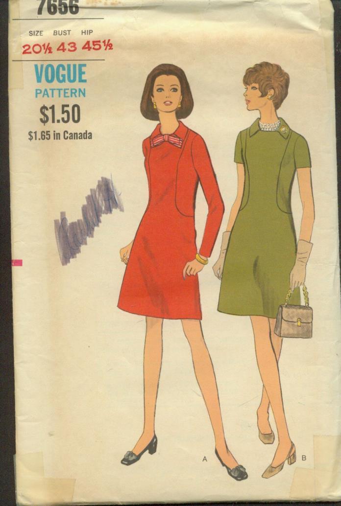 HALF sz 20.5(BUST 43)A-LINE DRESS BODICE INTEREST VINTAGE VOGUE PATTERN'60's