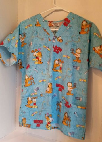 Garfield Odie Scrub Top XS Medical Surgical Uniform Vet Tech Scrub Top Dr is In