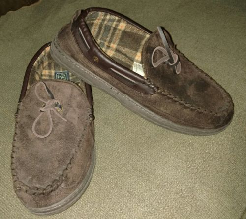 Signature by LEVI STRAUSS Men's Moccasin Brown Memory Foam Slippers Size 9-10