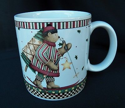 2 SAKURA DEBBIE MUMM SLEDDING CHARACTERS MUGS HOLIDAY CHRISTMAS