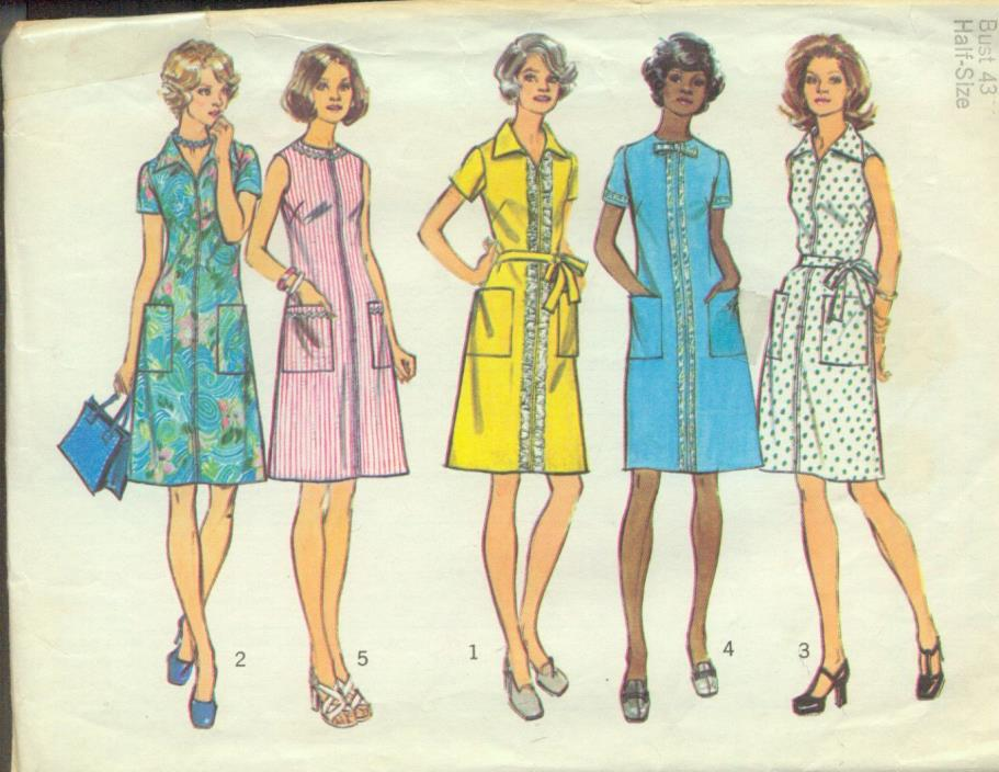 HALF sz 20.5(BUST 43)CASUAL HOUSE A-LINE DRESS SLEEVE VARIETY VINTAGE PATTERN'73