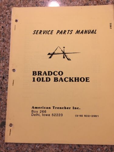 Parts Service Manual Bradco  10LD Backhoe