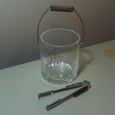 Vintage Mid Century Cut Crystal Wooden Handle Ice Bucket & Tongs 5