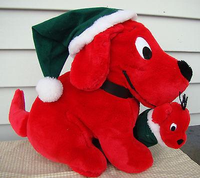 1992 Dakin Plush Christmas Clifford the Big Red Dog Plush w/puppy
