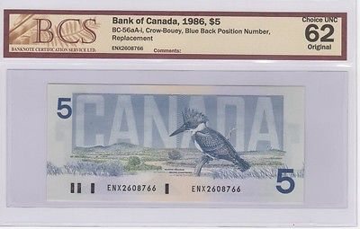 1986 Bank of Canada $5 Replacement Note ENX Blue B.P.N. BC-56aA-i Choice UNC 62