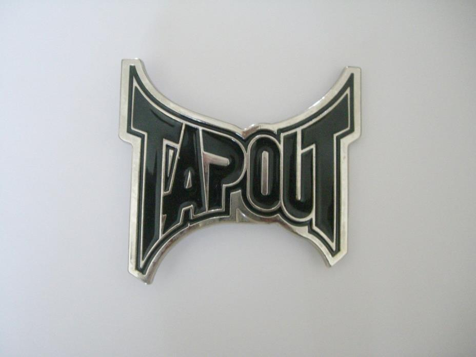 TAP OUT CHROME & BLACK BELT BUCKLE