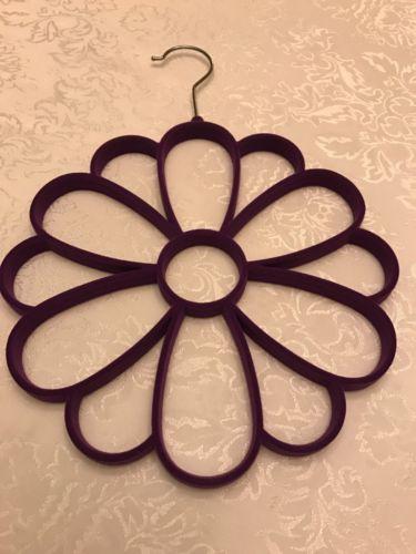 New Purple Velvet Flower Scarf Holder Hanger Scarves Belt Shawl Closet Organizer