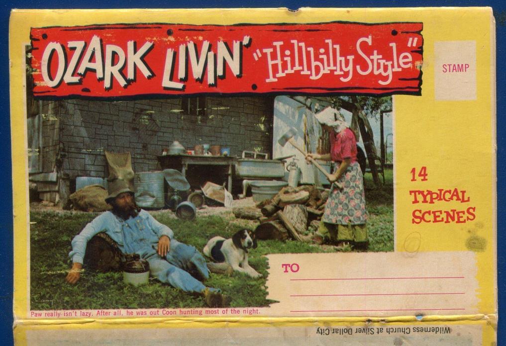 Ozark Living Hillbilly Style chrome postcard folder 14 typical views