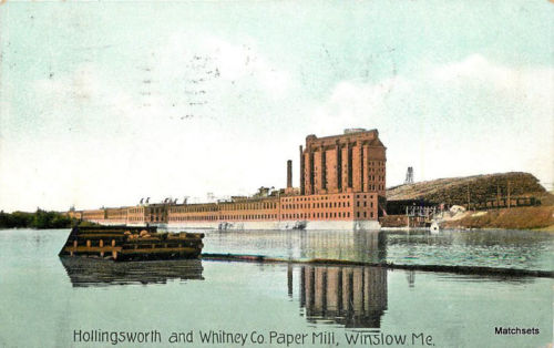 1910 WINSLOW MAINE Hollingsworth Whitney CO Paper Mill postcard 9751