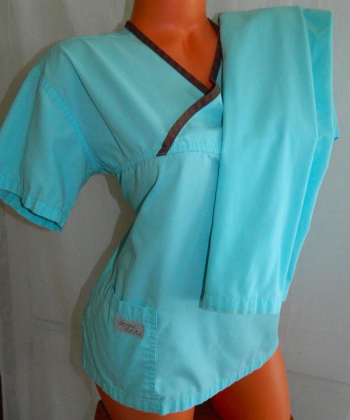 URBANE SCRUBS Lot of 2 SET Small TOP PANTS Nursing Vet Tech AQUA BLUE Brown