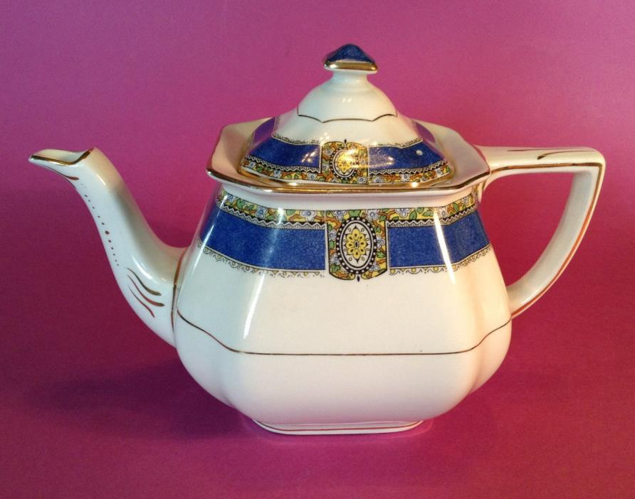 Myott Teapot - White Ivory And Cobalt Blue With Gilded Accents - Made In England
