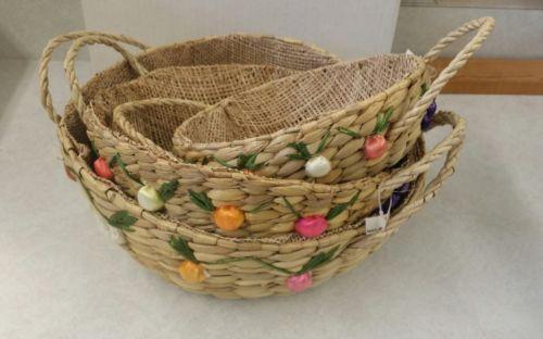 Vintage Woven Basket Rope Handles Wicker Woven Raffia Fruit Vegetables Set of 3