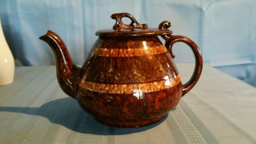 Vintage Brown Spatter Pottery Teapot with Green and Cream Stripes ~ England