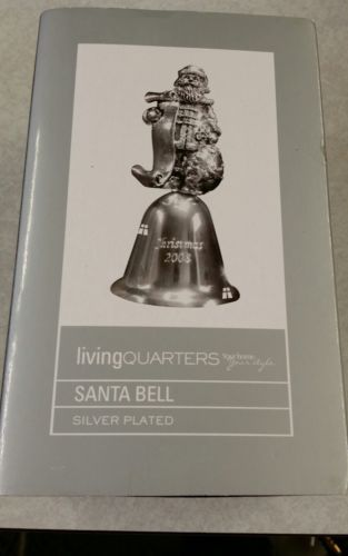 Collectible Living Quarters Christmas 2008 Santa Bell Silver Plated Orig. Box