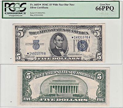 1934-C* $5 Silver Certificate Star Note F-1653* PCGS Gem New-66 PPQ
