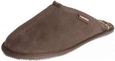 Muk Luks Men's Printed Berber Scuff Sock Slipper Chocolate Sz 10  NEW