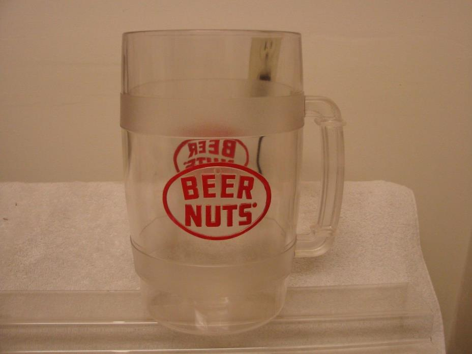 BEER NUTS BAR TOP COUNTER DISPLAY HANDLE BEER MUG HARD PLASTIC 2 LOGO'S VERY GOO