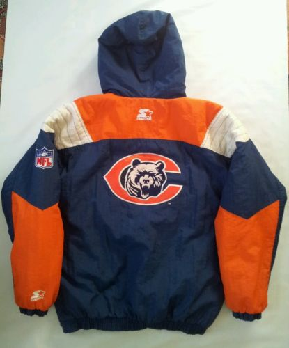 VINTAGE STARTER AUTHENTIC PRO LINE CHICAGO BEARS PULLOVER JACKET IN SIZE XL