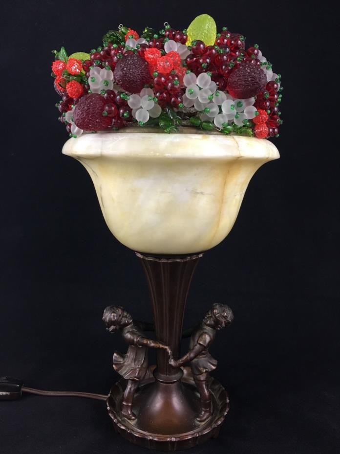 German Bronze, Marble and Art Glass Fruit Urn Table Lamp Circa 1920, Children