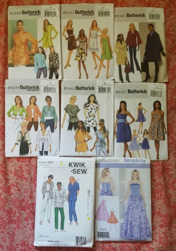 LOT OF 8 Misses' Sewing Pattern Vintage Packages BUTTERICK KWIK-SEW SIMPLICITY