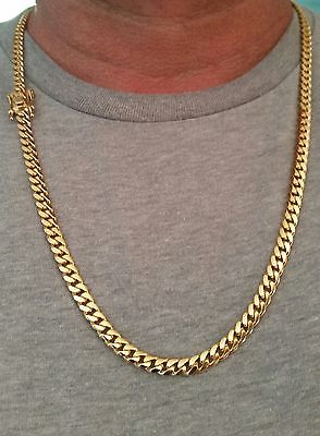 14K Miami Cuban Link Chain Solid Gold, 25