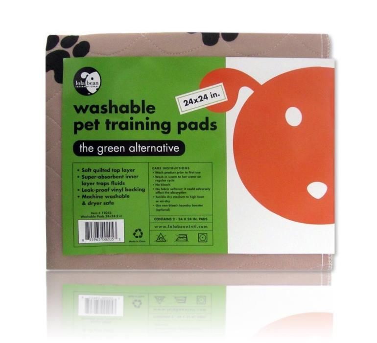 Lola Bean International 24-Inch by 24-Inch Washable Pet Training Pads, 2-Ct/1pk