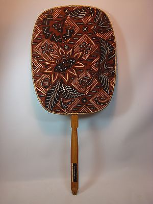 Mid Century Rosenthal Netter Hand Crafted Fan W Carved Bamboo Handle