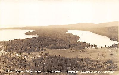 Copper Harbor Michigan View from Brockway Mtn~Houses-Lakes-Farm Fields~'30s RPPC