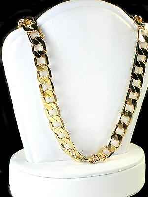 Very Solid 30 inch Curb chain 8mm wide 18k yellow gold layered 54gr. approx.