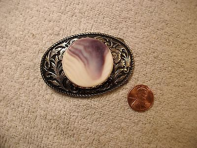 PURPLE & WHITE POLISHED STONE BELT BUCKLE