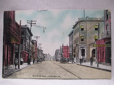 1911 McKEAN AVE. DONORA PA. STREET SCENE HORSE & BUGGY POSTCARD