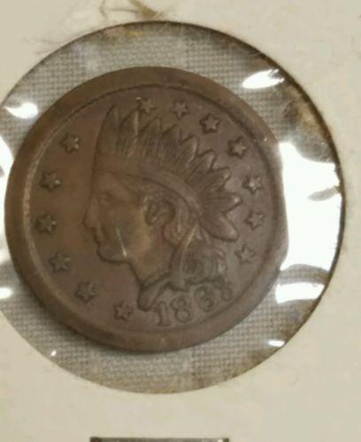 Civil War Era Token 1863 Indian head Copper One Cent Coin