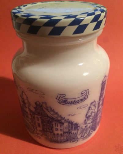 MUSTARD Senape Senf Hengstenberg Milk Glass MUNCHEN Vintage Glass Jar Bottle