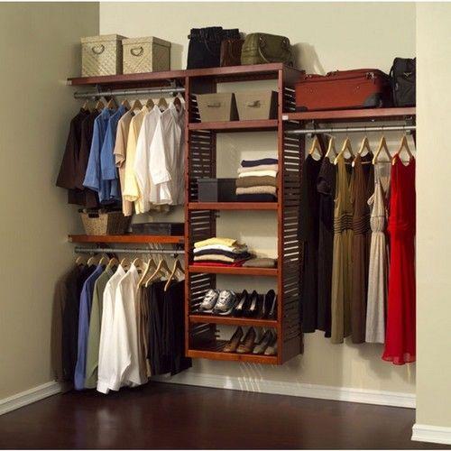 John Louis Home Closet System Custom Deluxe 16-Inch Deep Shelving Red Mahogany