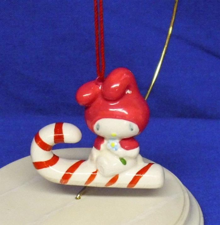 Vtg Sanrio Ceramic Porcelain Ornament Hello Kitty My Melody on Candy Cane Used