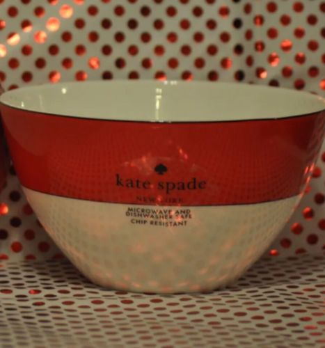 KATE SPADE NEW YORK LENOX RUTHERFORD CIRCLE RED BOWL CEREAL SOUP NEW ROUND