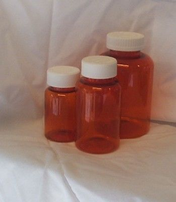 6 SMALL Amber Plastic Medicine Bottles with Caps comes SMALL & Medium  Clean