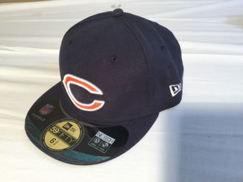 NWT NFL Chicago Bears New Era 59Fifty Black Cap, Hat Size 6 3/4 53.9cm