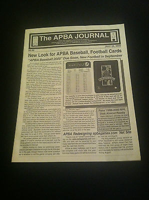 APBA Journal magazine / July 25, 2000 / EX-MT / New baseball, football card sets